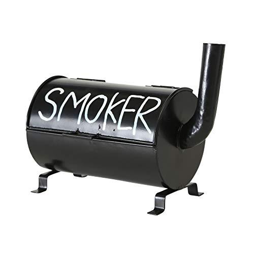 MC Trend Origineller Sturm-Windaschenbecher schwarz Eisen im Smoker Grill Design L20cm In-Outdoor Keller Garten Balkon