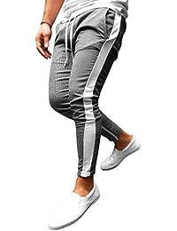 Homme Pantalon Longs à Carreaux - Mode Taille Moyenne Pantalon Rayé avec  Poches et Cordon Hommes 921133c68399
