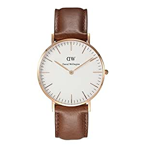 Daniel Wellington - 0512DW - Cardiff - Montre Mixte - Quartz Analogique - Cadran Rose - Bracelet Cuir Marron