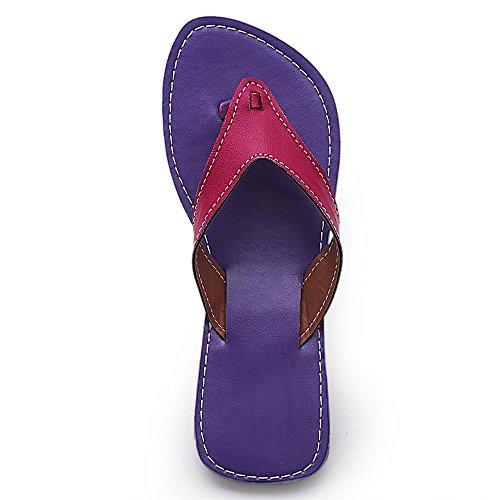 2dots Sangles Boucles ethniques Croix Design Forme en V Plat chappal Violet - violet