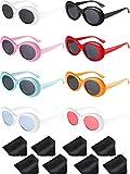 Gejoy 8 Paar Clout Oval Brille Retro Kurt Mod Dicken Rahmen Runde Linse Sonnenbrille Schutzbrillen 8 Farben für Damen Männer (Farbe 1)
