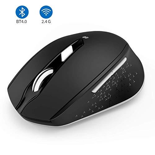 seenda 2.4G+Bluetooth Dual-Modus Kabellose Maus, ergonomische und leise Maus für PC/Laptop/Android Tablet/iPad(iOS13 oder iPad OS sind erfordlich), Schwarz
