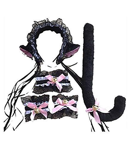 Lovelegis Negro y Rosa - Juego de Gato Sexy - Diadema - Cola - Pulseras - Collar - Disfraz - Halloween - Cosplay - Accesorios - Mujer - con Sonaglini