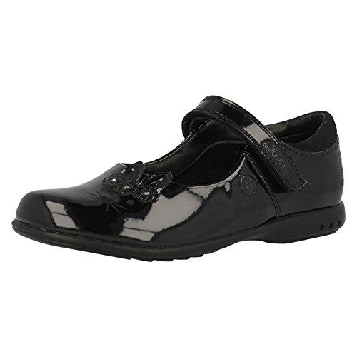 Clarks Mädchenschule Trixi Run Schuh Kleinkind Black Patent 7½ F