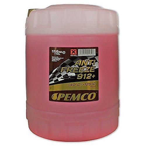 10 Liter Pemco Antifreeze 912+ Kühler Frostschutz bis -40°C rot gebrauchsfertig