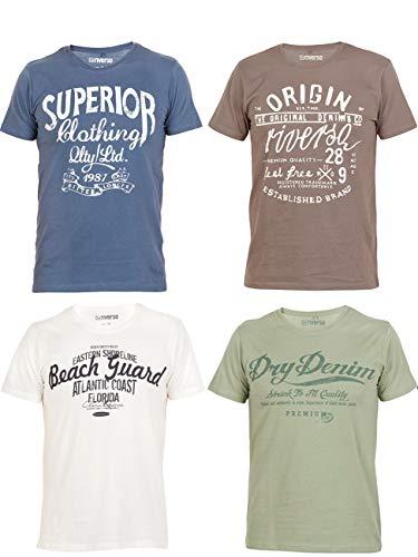 riverso Herren T-Shirt Leon 4er Pack Rundhals O-Neck mit Print - S-5XL - 100% Baumwolle - Regular Fit - Grün - Blau - Weiß - Grau, Größe:XXL, Farbe: Blau, Weiß Grau, Grün (1) - Tolles Retro-t-shirt