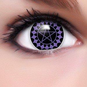 sen Black Butler in lila + Kombilösung + Behälter - Top Linsenfinder Markenqualität, 1Paar (2 Stück) (All Black Kontaktlinsen)