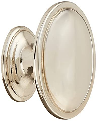 Atlas Homewares 316-PN 1.33-Inch Austen Oval Knob from the Austen Collection, Polished Nickel by Atlas Homewares