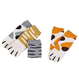 Monbedos Cat Claw Socks Four-Color Mixed Shallow Mouth Boat Socks Student Low Socks Warm Socks For Protecting Men And Women'S Feet 4 Pairs 2