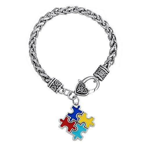 Skyrim pulseras & brazaletes de esmalte de aleación de zinc Concienciación sobre el autismo Puzzle piezas pulsera autista