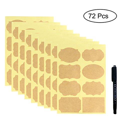 Kraft Aufkleber, 72Pcs Sortiert Größe Kraftpapier Tafel Etikett Aufkleber Kit mit Marker Pen für ätherische Öl-Flaschen, Maurer-Gläser oder Lebensmittel Lagerung Container (Tafel-maurer-gläser)