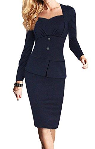 Smile YKK Damen U Boot Langarm Knielang Cocktailkleid Business Bodycon Kleid Etuikleid Schlauch kleid Schößchen kleid Schwarzblau