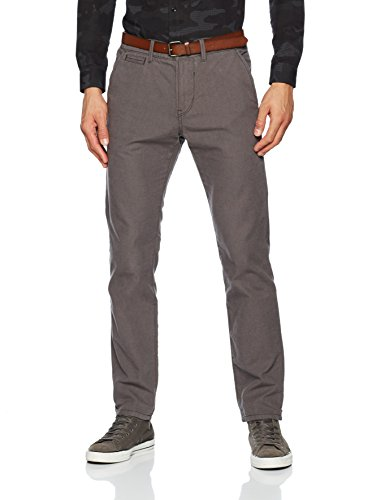 TOM TAILOR DENIM Herren Hose Basic Chino Yd with Belt, Grau (Dark Raven Grey 2151), W34/L32 (Herstellergröße: 34) (Basic Dark-denim-jeans)