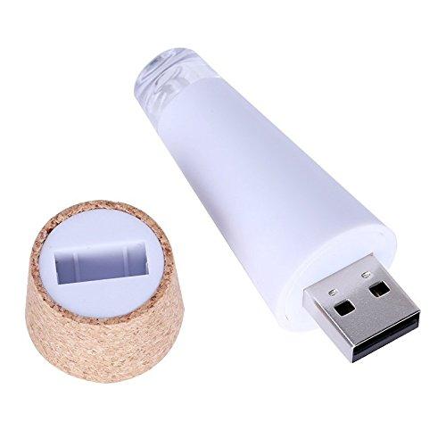 SODIAL(R) 2 x USB aufladbare LED-Licht Form KORKEN Dekor Leere Weinflaschen - Weisses Licht