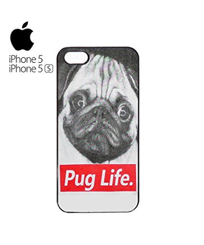 Pug Life Dog Doggie Animal Hipster Swag Mobile Phone Case Back Cover Coque Housse Etui Noir Blanc pour for iPhone 5c Black Blanc