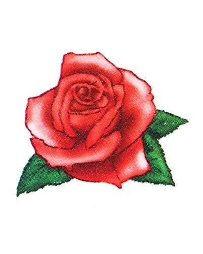 Horror-Shop Temporäres Aufklebe Fun-Tattoo mit schönem Rosen Motiv | 3,5 x 4 ()