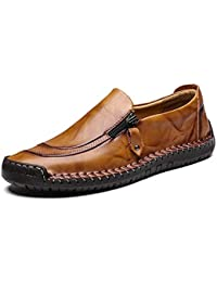 LIEBE721 Men's Leather Shoes Fashion Zipper Casual Boat Sneaker Non-Slip Durable Breathable Loafers