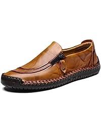 LIEBE721 Zapatos de Cuero para Hombre Moda con Cremallera Casual Barco Zapatilla Antideslizante Durable Respirable Mocasines