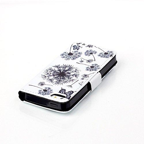 Coque pour iPhone 5 5S, Etui pour iPhone 5 5S, ISAKEN Peinture Style PU Cuir Flip Magnétique Portefeuille Etui Housse de Protection Coque Étui Case Cover avec Stand Support et Carte de Crédit Slot pou Pissenlit Papillon