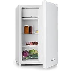Klarstein réfrigérateur • pose libre • 120 l • 2 x clayettes • compart. frais • 3 x compart. de porte • congélateur 12 l • 67 W • température réglable • 39 dB • fermeture à droite • 4 pieds • blanc