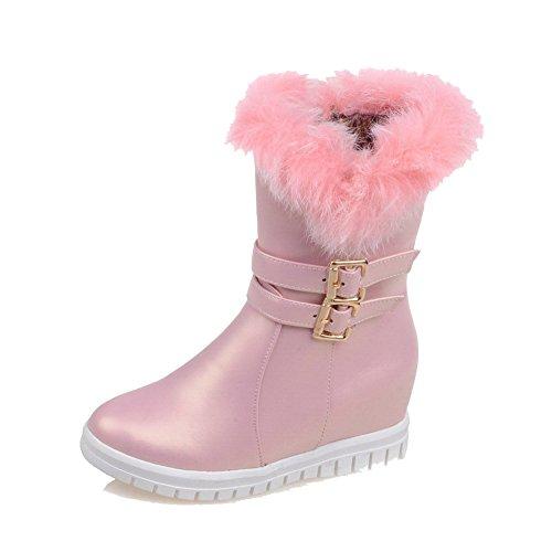 AllhqFashion Damen Niedrig-Spitze Reißverschluss Mittler Absatz Stiefel, Pink, 42
