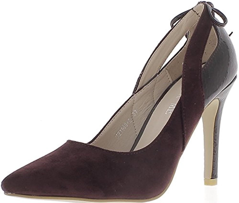 Piezas de Ciruela Zapatos Tacón 10 cm Sharp Material bi -