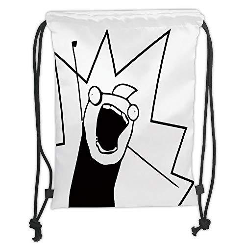 Fashion Printed Drawstring Backpacks Bags,Humor Decor,Happy Stick Meme Troll Face Cheerful Expression Digital Stylized Modern Design,Black White Soft Satin,5 Liter Capacity,Adjustable String Closu