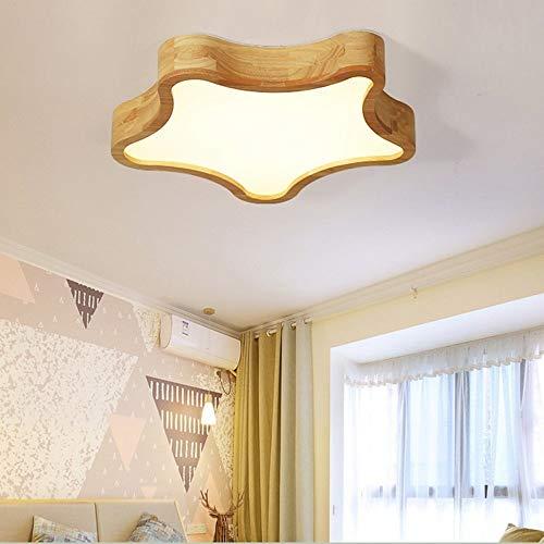 AG Wohnzimmer-Schlafzimmer-Korridor-Beleuchtung, Haushalts-Deckenleuchte-Einfassungs-geführte 24W Deckenleuchten Kreative Persönlichkeits-Versprechen-Dimming-Gurt-Fernbedienung Festes Holz-Stern-Form -