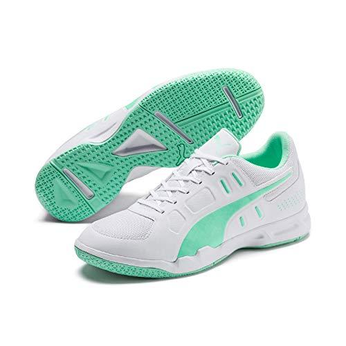 PUMJV #Puma Auriz, Scarpe da Calcetto Indoor Uomo, Puma White/Green Glimmer 04, 11 EU