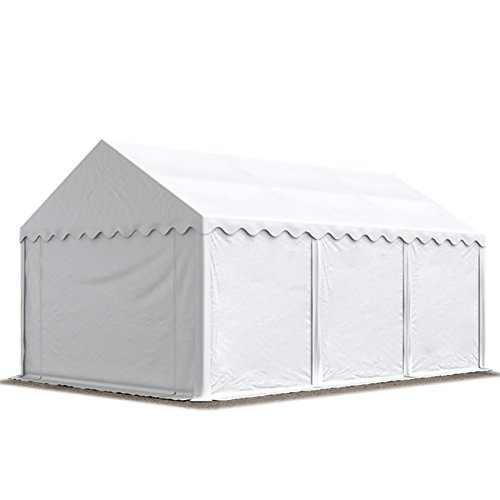 Abri / Tente de stockage ECONOMY - 3 x 6 m en blanc - toile PVC 500 g/m² imperméable / protection contre les rayons UV (80+) / structure robuste en acier galvanisé
