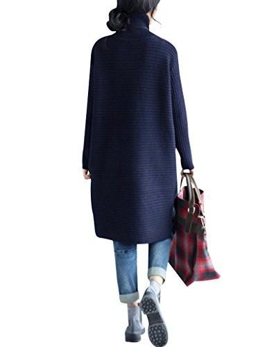 Youlee Donna Alto Collo Lato Fessura Maglione Vestito Blu scuro
