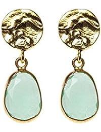 Córdoba Jewels | Pendientes en plata de Ley 925. Diseño Martelé Esfera Oro Calcedonia