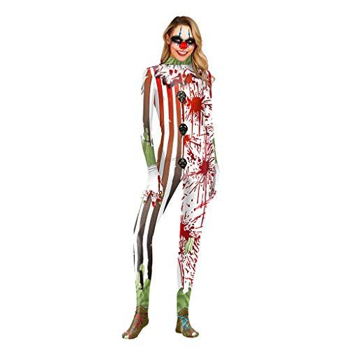 Menschliche Kostüm Reißverschluss - Erwachsene Halloween Party Cosplay Kostüm & Clown, Menschlicher Schädel Muster und Halloween Cosplay & Halloween Cosplay Kostüm Damen,S