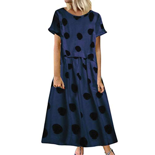CUTUDE Damen Kleider Röcke Kurzarm Sommerkleider Frauen Retro Freizeit Tupfen Druck Rundhals Kurzschluss Hülse Plus Size Maxi Kleid (Marine, XX-Large)