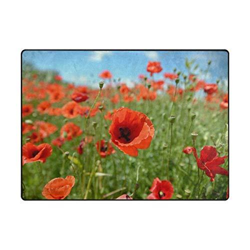 Mohn Roten Teppich (WowPrint Rot Mohn Blume Muster Teppich Groß Weich Teppich Wohnzimmer Schlafzimmer Küche Home Kinderzimmer Decorator 160 x 121 cm)