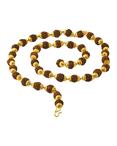 Men/Boys Gold Plated 39 Rudraksha Beads Studded Chain/Mala By Factorywala