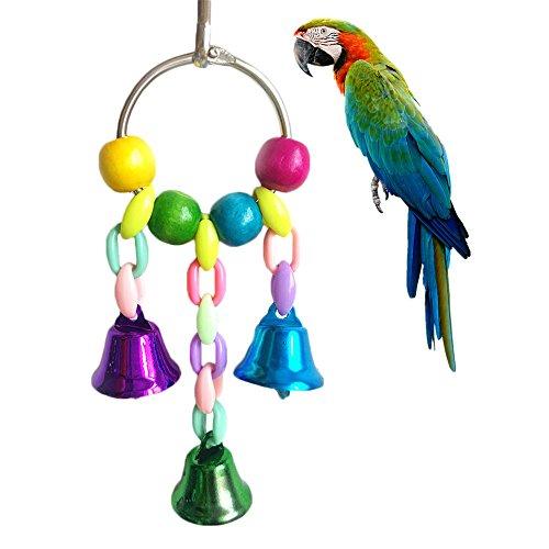 Giocattolo per pappagallo, Namgiy, altalena da mordicchiare, con campane per pappagallo africano grigio, pappagallo ara, cacatua, parrocchetto ondulato, inseparabili, accessori da gabbia