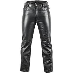 Jean piel jeans motard-Pantalón de cuero, color negro Negro negro 42
