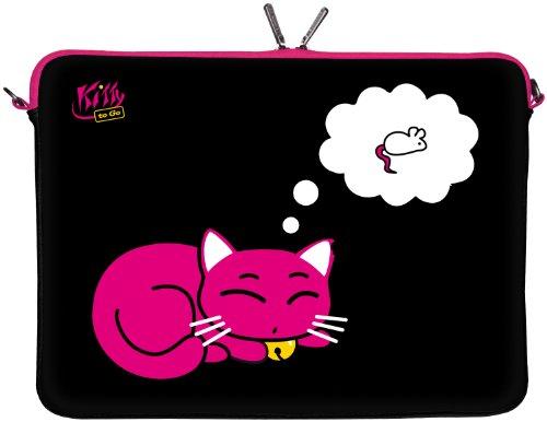 Kitty to Go LS143-17 Designer Laptop Tasche 17 Zoll Notebook Sleeve Hülle Schutzhülle aus Neopren bis 43,9 cm (17,3 Zoll) Cover Case Katze pink-schwarz
