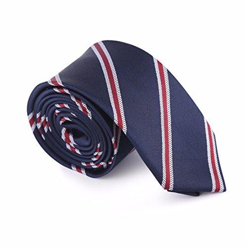 ce190973c2614 HXCMAN 6cm bleu marine rouge À rayures slim cravate design classique hommes  100% soie boite