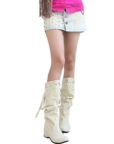 Minetom Femme Hiver Chaudes Bottines Footwear Sexy Chaussures Flats Snow Boots Beige