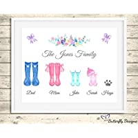 Personalised Wellington Boots Family Watercolour Premium Print Picture A5, A4 & Framed Options, Welly Art - Design 1