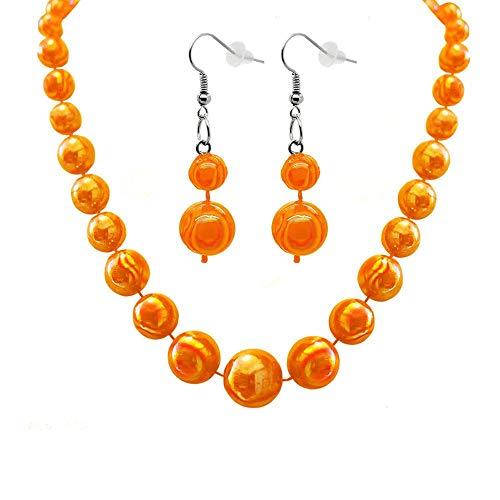 tumundo Set von 1 Halskette Collier Perlen-Kette Groß Rund Kugel + 2 Ohrringe Ohrhänger Damenschmuck Kinder Modeschmuck, Farbe:orange