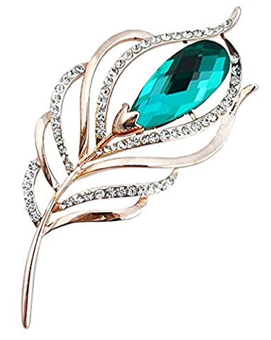 FENGJI Crystal Gold and Silver Plated Peacock Feathers Shape Coat Wedding Brooch Pin 4 Colors for Choice Color