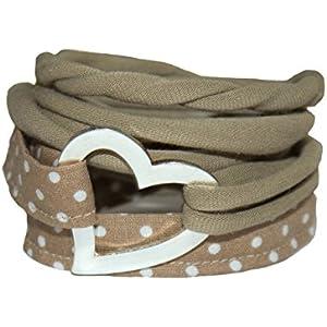 Wickelarmband Stoff in schlamm - breites Armband - onesize - Stoffarmband zum Wickeln - Handmade - Endlosarmband...
