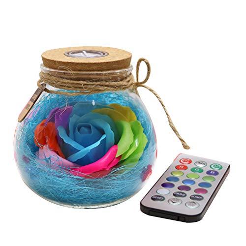 Mobestech Soap Rose Wishing Jar Nachtlicht LED Fernbedienung Lampe romantische bunte Lichter Geschenk (zufällige Farbe) -