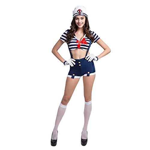 thematys Kapitän Seemann Matrosen Kostüm Weiß-Blau - Kostüm-Set für Damen - perfekt für Fasching, Karneval & Cosplay - 2 Verschiedene Größen - Läuft Kostüm Pirat