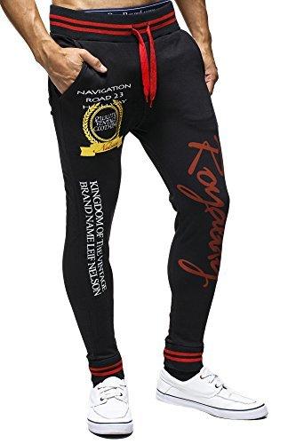 LEIF NELSON - Pantalon - Homme - Noir/rouge