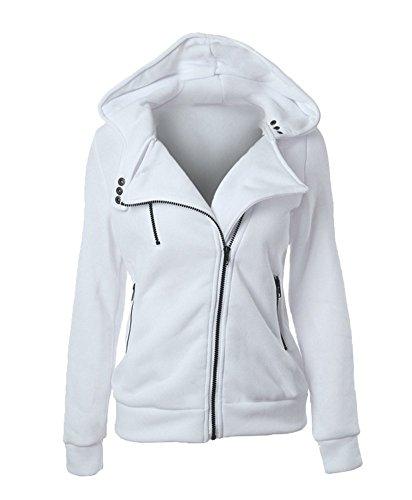 GGTFA Warme Zipper Hoodie Pullover Hooded Sweatshirt Jacke Mantel Outwear Weiß S