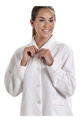 Damen Bettjacke mit Punktemuster - Weiß mit rosa Punkten Weiß